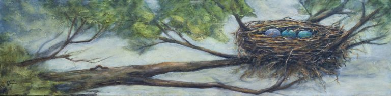 """The Early Worm 12x48"""" Oil on Canvas by CJ Campbell"""