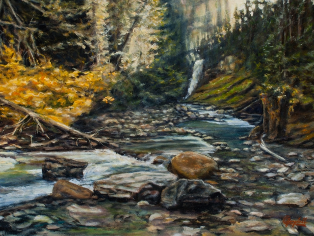 """Illecillewaet falls Oil painting by_CJ_Campbell-30×20"""""""