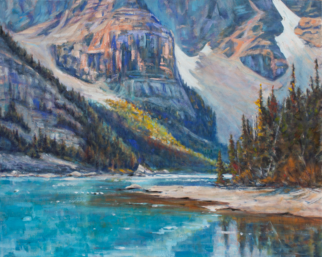 """Getting Intimate with Moraine 30x24"""" Oil on deep canvas by CJ Campbell"""