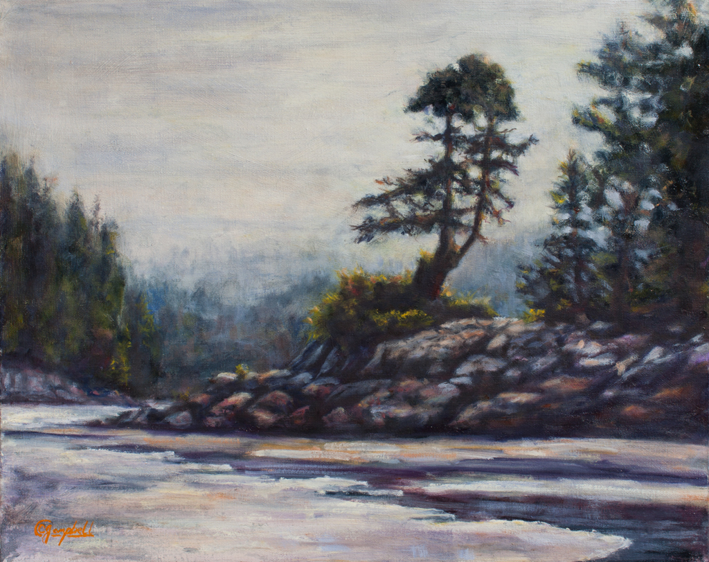 Rising mists of Tofino 20x16 Oil on Canvas by CJ Campbell